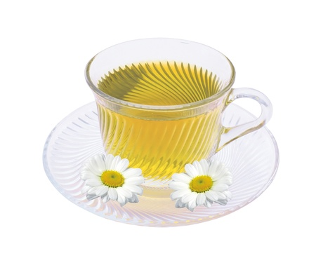 camomiles: Herbal chamomile tea isolated on white background