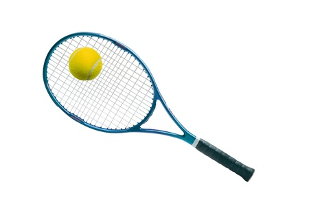 Tennis equipment: ball and racket Stock Photo - 10542332