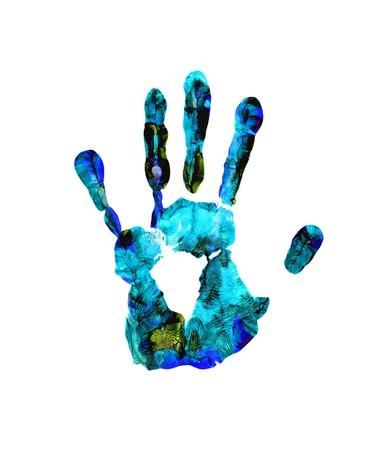fingerprints: Colorful hand print on white background