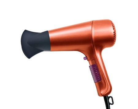 color hair dryer isolated on white background Stock Photo