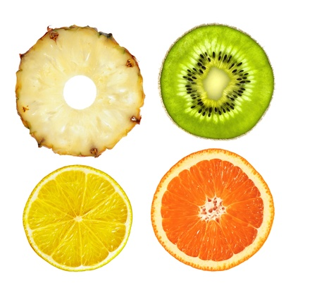 lime slice: sliced pink pineapple, kiwi, lemon and orange isolated on white