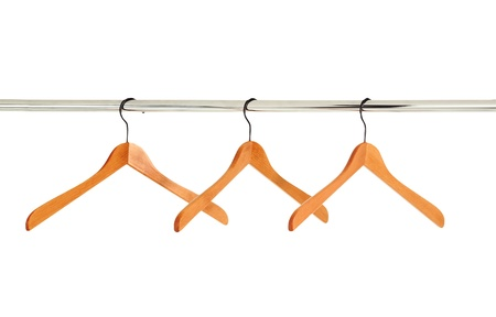 wooden clothes hangers isolated on white background Stock Photo - 10649594