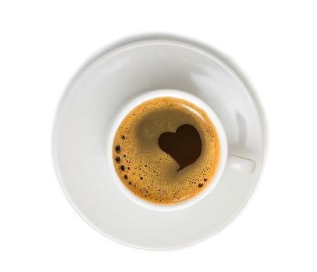 planta de cafe: Caf� en Copa blanca aislada sobre fondo blanco Foto de archivo
