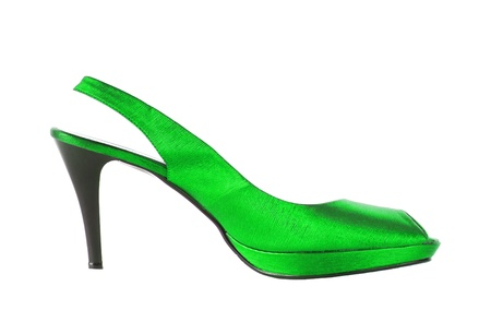 Beautiful sexy green female shoe isolated on white background