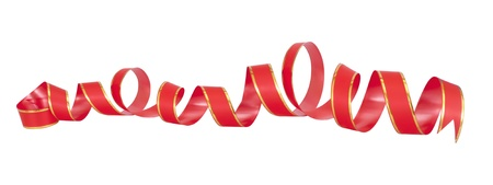 red holiday decor ribbon isolated on white photo