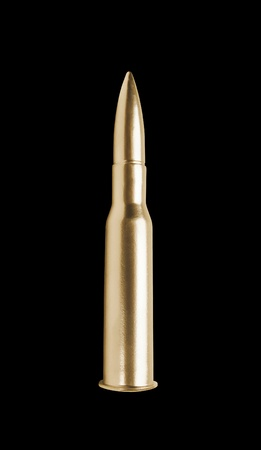 full jacket bullet: golden gun bullet isolated on black background