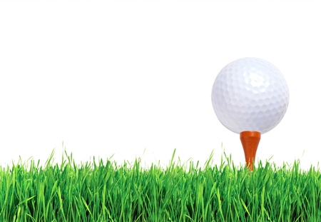 Golf ball on green grass over white background photo