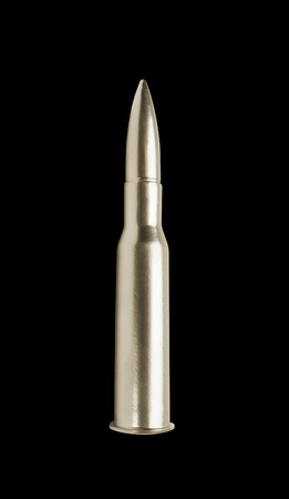silver gun bullet isolated on black background