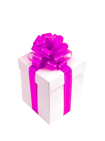 White gift box with pink bow isolated on white background