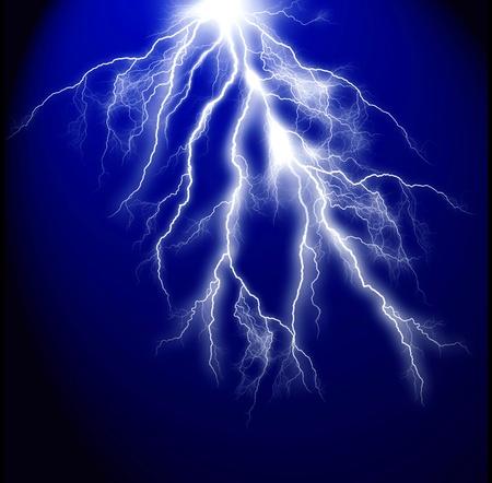 electrocute: Electric lightning on a dark blue background