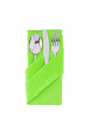 fork, knife and spoon in green cloth, isolated on white background photo