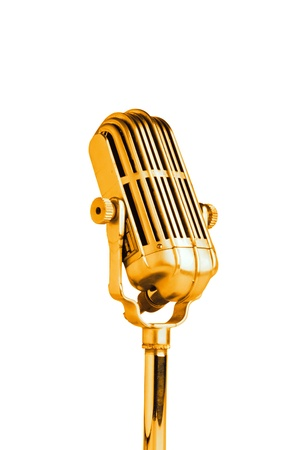 micro recording: Vintage golden microphone isolated on white background  Stock Photo