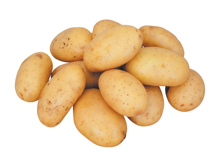 fresh potatoes isolated on white background photo
