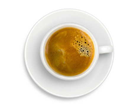 White cup of coffee espresso isolated on the white background Stock Photo