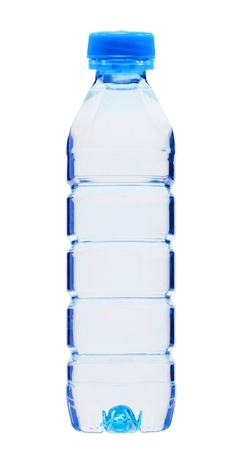 plastik: Blue bottle with water isolated on white background Stock Photo