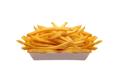 French fries in white box isolated on white Stock Photo - 11097385
