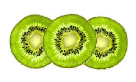 Beautiful slices of fresh juicy kiwi isolated on white background photo