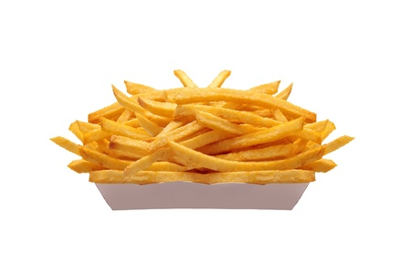 French fries in white box isolated on white photo