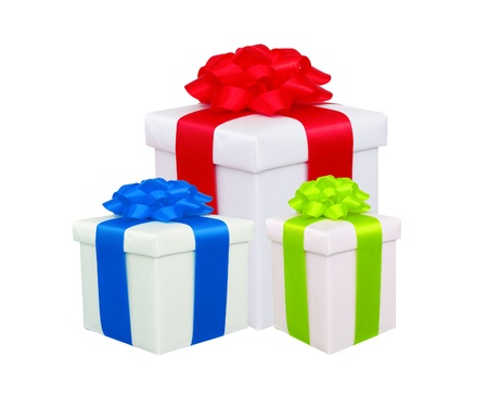 beautiful gift boxes with colorful bows isolated on white photo