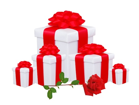 gift boxes with red bow and red rose isolated on white photo