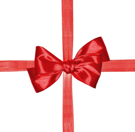 red ribbon and bow isolated on white background photo