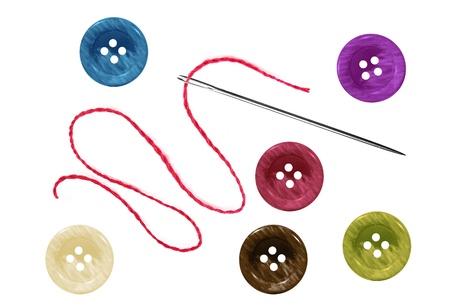 botones brillantes de coser y agujas con hilo aislado en blanco Foto de archivo - 11465181
