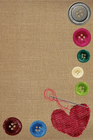 craft button: Bright sewing buttons, red textile heart and needle on gray fabric Stock Photo