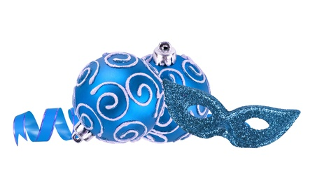 beautiful blue Christmas balls and carnival mask isolated on white photo