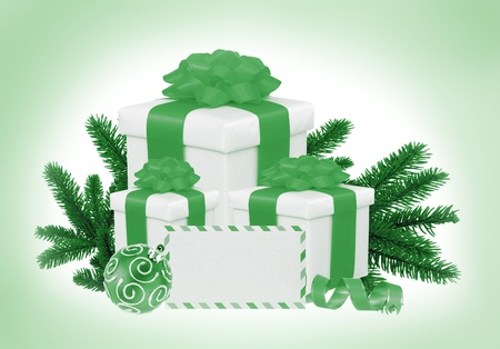 Christmas Gift Boxes, Decoration Balls and Tree Branch toning in green photo