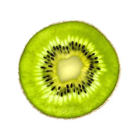 kiwi: Beautiful slice of fresh juicy kiwi isolated on white background