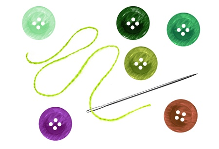 bright sewing buttons and needle with thread isolated on white photo