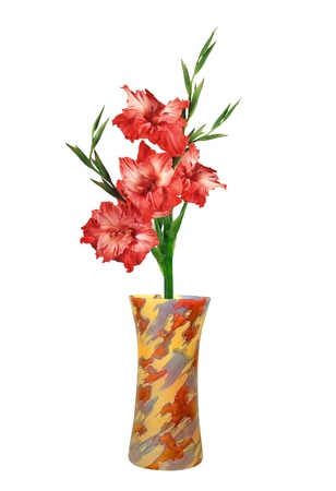 Red gladiolus in colorful vase isolated on white photo