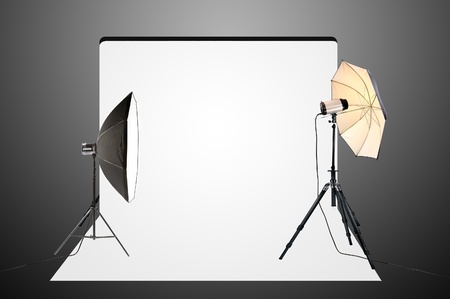 Empty photo studio with lighting equipment Stock Photo - 11967832