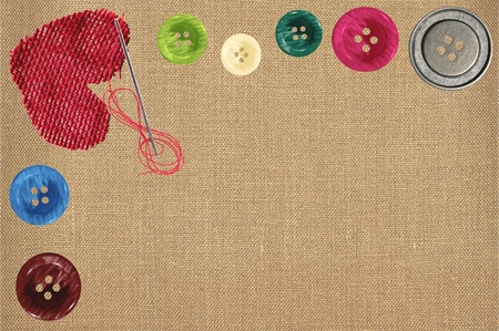 Bright sewing buttons, red textile heart and needle on gray fabric Stock Photo