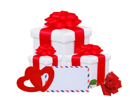 White gift box with red bow, two hearts, rose and greeting card isolated on white  photo