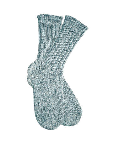Grey wool socks isolated on white background Stock Photo - 12445957