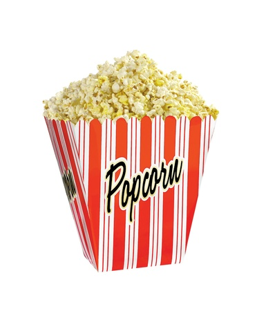 Full bucket of popcorn isolated on white background photo