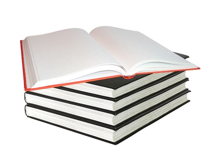 secretary tray: Stack of books isolated on white