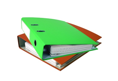 Stack of office folders isolated on white photo