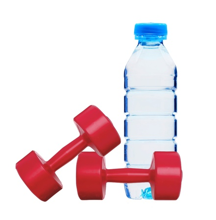 red dumbbells fitness and bottle of water isolated on white photo