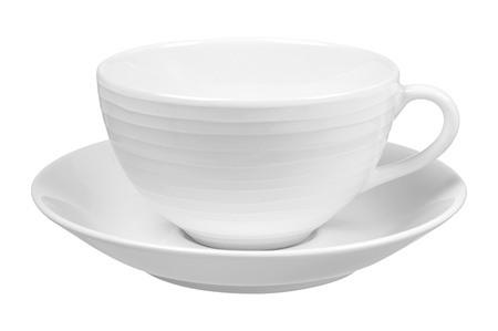 Clear white cup on plate isolated on white background photo