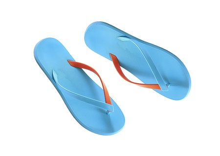 blue beach shoes isolated on white photo
