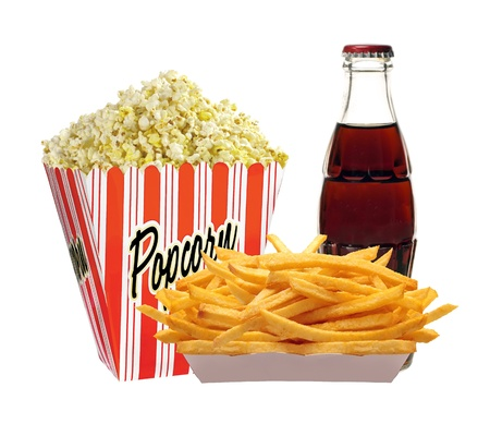 Full bucket of popcorn, cola in bottle and french fries potatoes isolated on white photo