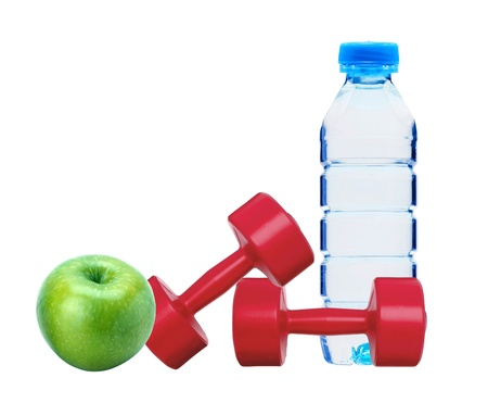 red dumbbells fitness, green apple and bottle of water isolated on white photo