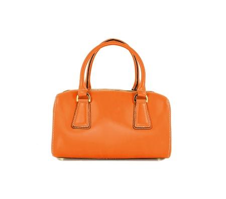 Orange women bag isolated on white background