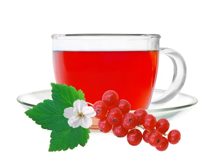 Glass cup tea with fresh currant isolated on a white background photo