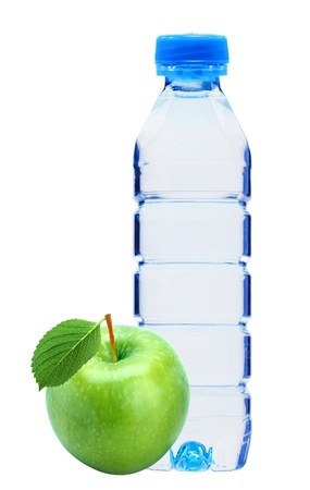 plastik: Blue bottle with water and fresh green apple isolated on white