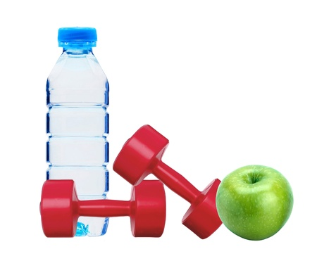 red dumbbells fitness, green apple and bottle of water isolated on white Stock Photo - 14016138