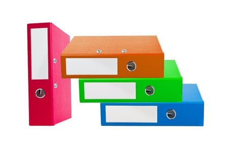 Stack of colorful office folders isolated on white photo
