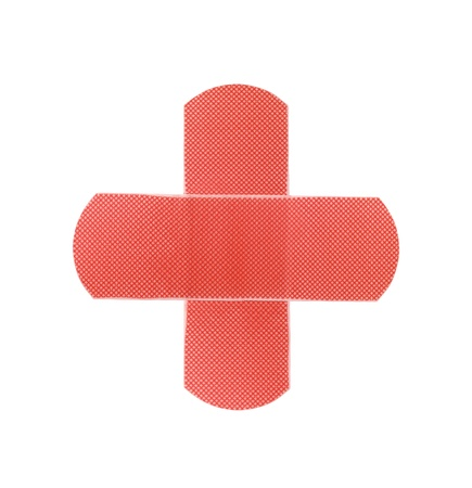 Red medical patch isolated on white background Stock Photo
